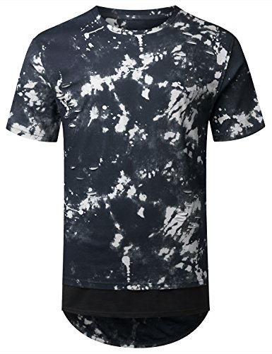 URBANCREWS Mens Hipster Hip Hop Tie Dyed Ripped Longline T-shirt BLUE, XXL (Tie Dyed Shirt)