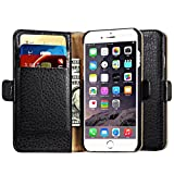 iPhone 6 / 6S Case, Icarer [Multifunctional Microfiber Card-slot Series] Detachable Fraction Style Genuine Leather Case with Magnetic Closure & Stand for iphone 6s / iphone 6 Case-K14-Black 4.7