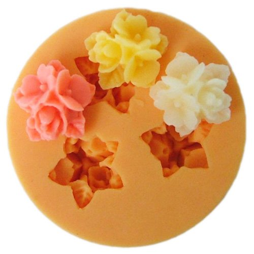 3 flower silicone mold - make your own resin hairpieces and (Barrette Mold)