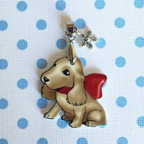 Cocker Spaniel Necklace • Dog / Puppy • Handcrafted • Silver Plated Chain • Shrink Plastic • Buff • Very - Plastic Buff