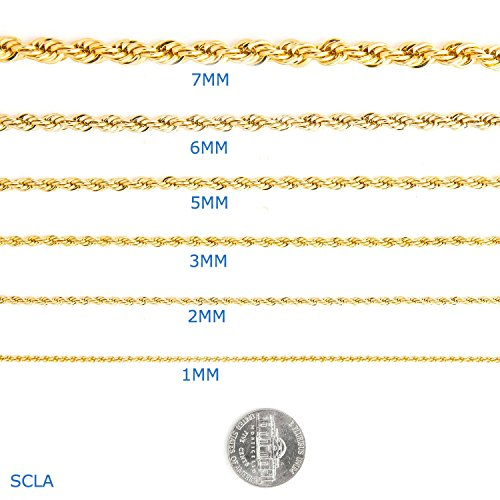 16' 14k Gold Filled Rope (Gold Chain Necklace 24K Overlay 2MM Rope chainUSA Made,, great with or without a pendant. (24))