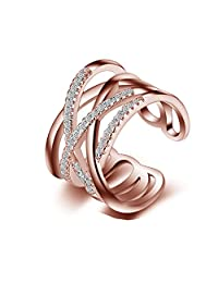 Showfay AAA Zircon Adjustable Ring for Anniversary Infinity Cross Lines Middle Finger Ring for Wedding Engagement