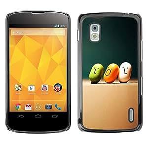 PC/Aluminum Funda Carcasa protectora para LG Google Nexus 4 E960 Lol Quote Slogan Art Smiley Funny Candy / JUSTGO PHONE PROTECTOR