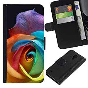 All Phone Most Case / Oferta Especial Cáscara Funda de cuero Monedero Cubierta de proteccion Caso / Wallet Case for Samsung Galaxy S4 IV I9500 // Color Rose Beautiful Flower