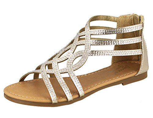 SWEET FOREVER Girls Sparkly Gladiator Sandal, Rose Gold, Size (Sparkly Sweet)