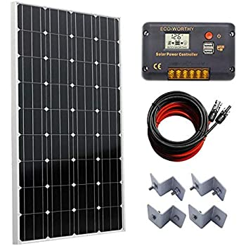 Amazon.com: ECO-WORTHY Sistema solar mono de 100 W: panel ...