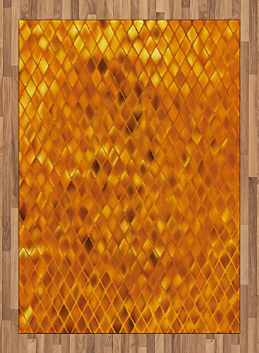 Modern Area Rug by Lunarable, Golden Colored Mosaic Geometric Design with Mirror Like Artwork, Flat Woven Accent Rug for Living Room Bedroom Dining Room, 5.2 x 7.5 FT, Orange and Marigold Yellow by Lunarable
