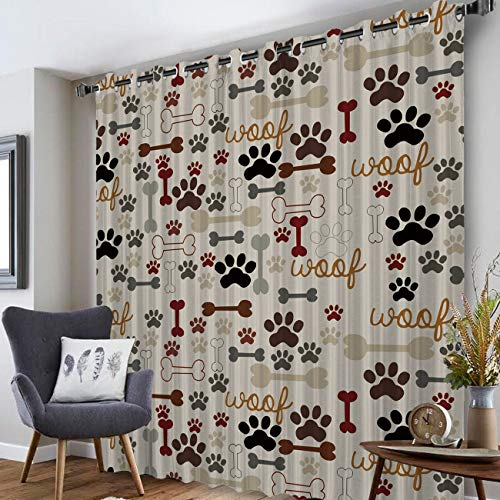 Rocking Giraffe 1 Panel Blackout Grommet Curtains for Living Room Cartoon Dog Paw Print and Bones Home Decor Treatment Thermal Darkening Drapes Window Curtains for Bedroom 52 x 45 Inches