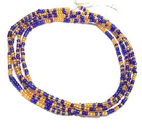 VIntage Ghana Blue and Orange waist seed Beads Glass African Trade ()