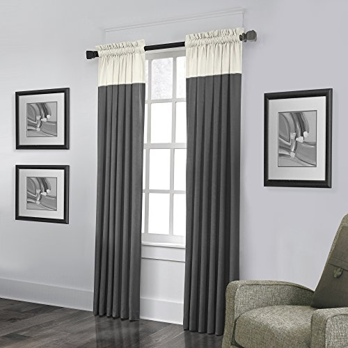 Veratex Monterey Collection Contemporary Style 100% Linen Bedroom Grommet Fastener Style Curtain, 84