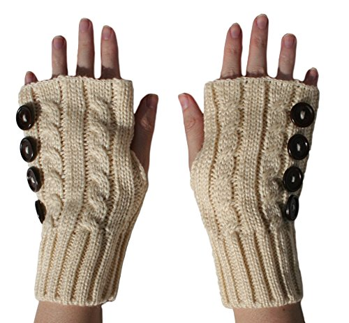 Blue 55 Women's Sexy Cute Cozy Knit Cable Multi Buttons Hand Mitten Gloves w/ Thumbholes - For Sexy Stocking Stuffers Women