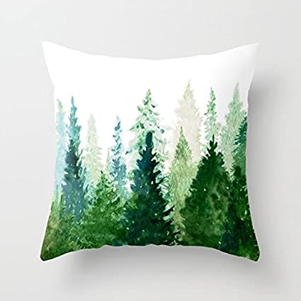 Afagahahs Decorative Throw Pillow Covers Oil Painting Pine Trees Green Forest Fresh Air Cotton Cushion Pillow Covers 16 By 16 Inch Two Sides