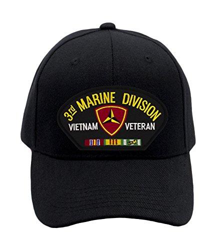 Patchtown USMC - 3rd Marine Division - Vietnam Hat/Ballcap Adjustable One Size Fits Most (Multiple Colors & Styles) (Black, Standard (No Flag)) (Division Marine Hat)