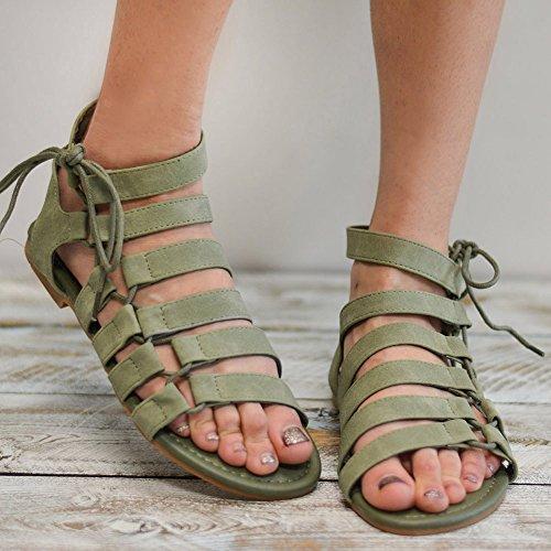 Cordones Romano Playa Mujer Gladiador Plano De Casual Con Sandalias Moda Strappy Verde Jamron dP1InS0qI