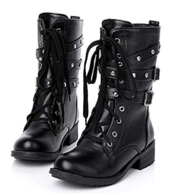 Paris Hill Women's Rivet Lace up Mid Calf Military Boots