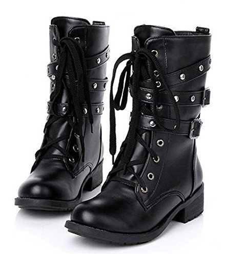 Paris Hill Women's Rivet Lace Up Mid Calf Military Boots Black 8 US - Womens Military Boots