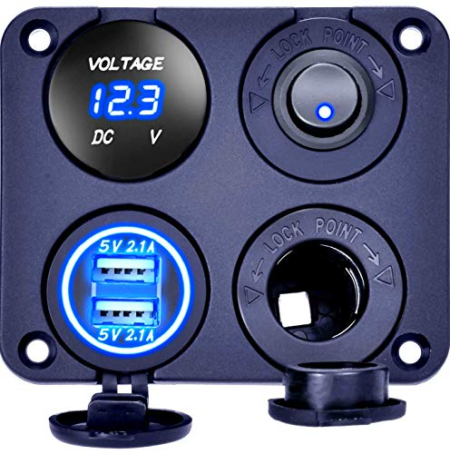 24v Port - DCFlat Dual USB Socket Charger 2.1A&2.1A LED Voltmeter 12V Power Outlet 5 Gang ON-Off Toggle Switch Panel for Marine Car Boat RV Truck Camper Vehicles GPS Mobiles
