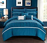 Chic Home Cheryl 10 Piece Comforter Set Complete Bed in a Bag Pleated Ruched Ruffled Bedding with Sheet Set And Decorative Pillows Shams Included, Queen Teal