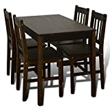 Festnight 5 Pieces Dining Table Set with 4 Wooden Chairs Wood Kitchen Dining Set Breakfast Home Furniture (Black) Review