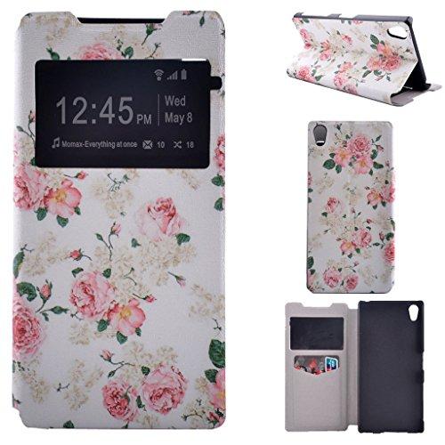 Z5 Premium Funda, Xperia Z5 Premium Funda, SATURCASE Cuero De La PU Ventana Capirotazo Apoyo Bumper Protector Funda Carcasa Case Para Sony Xperia Z5 Premium Unique Heart Pretty Flower