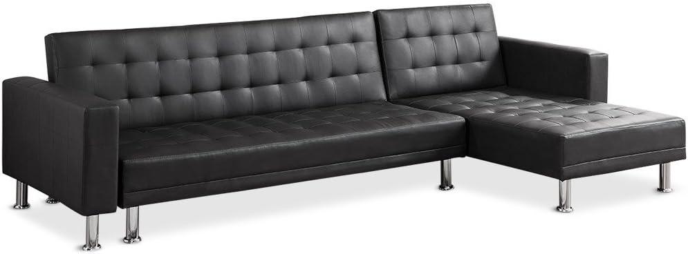 Menzzo Sfac8 Contemporain Vogue Canape D Angle Convertible Bois Noir 281 X 155 X 76 Cm