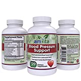 Premium Blood Pressure Support Supplement with Vitamins, Hawthorn, Niacin, Garlic & Hibiscus - Promotes Healthy Blood Pressure - Made is USA - 120 Capsules