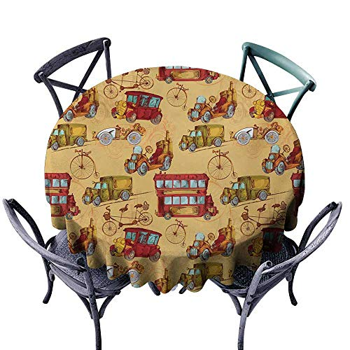 Snadkil Polyester Tablecloth Cars Steampunk Inspired Vintage Means of Transportation Colorful Retro Design Mustard Red Olive Green Washable Tablecloth D47