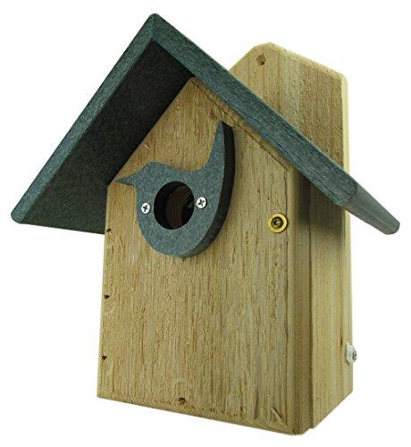 Nature's Way Bird Products Post Mount Cedar Wren House w/Birdhouse Green Poly Roof & Predator Guard Portal Cedar Predator Guard