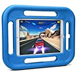 iPad Air 2, iPad Air 1 kids case, COOPER GRABSTER Rugged Heavy Duty Gaming Children's Toy Tough Rubber Bumper Drop Proof Protective Carry Case Cover Handle, Screen Protector [Apple iPad Air - Blue]