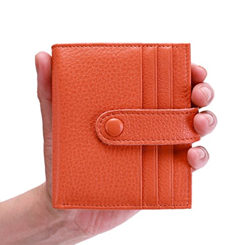 Reeple Women's RFID Blocking Small Compact Bifold Leather Pocket Wallet with ID Window(Orange) by Reeple (Image #5)
