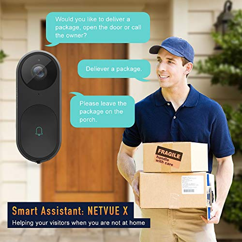 NETVUE Video Doorbell, A.I. Wifi HD Camera Doorbell with Facial Recognition, Voice Interaction, Night Vision, Motion Detection, Wireless Doorbell, Push Notification and Compatible with Alexa Echo Show by NETVUE (Image #3)