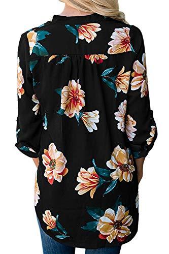 Cou V Black Se Floral Maxi La en Longues Mousseline Tunique Manches 0qUvY0