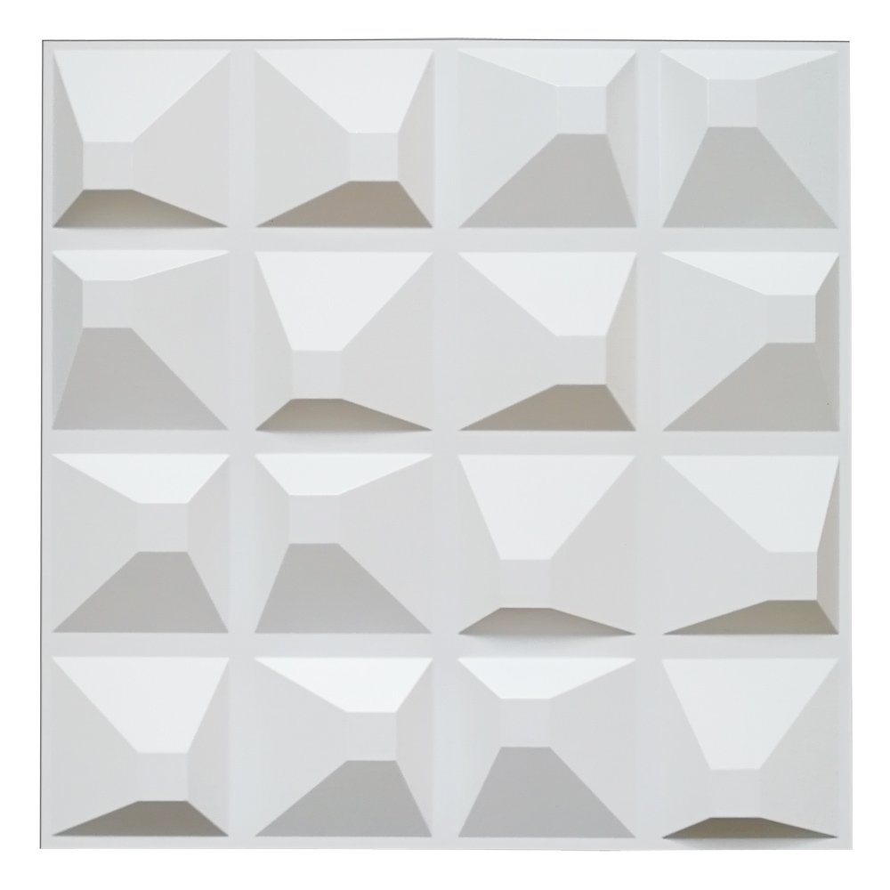 art3d 3d壁パネルの屋内壁の装飾 19.7in x 19.7in ホワイト A10019 B018U8RK0G Matt White Matt White