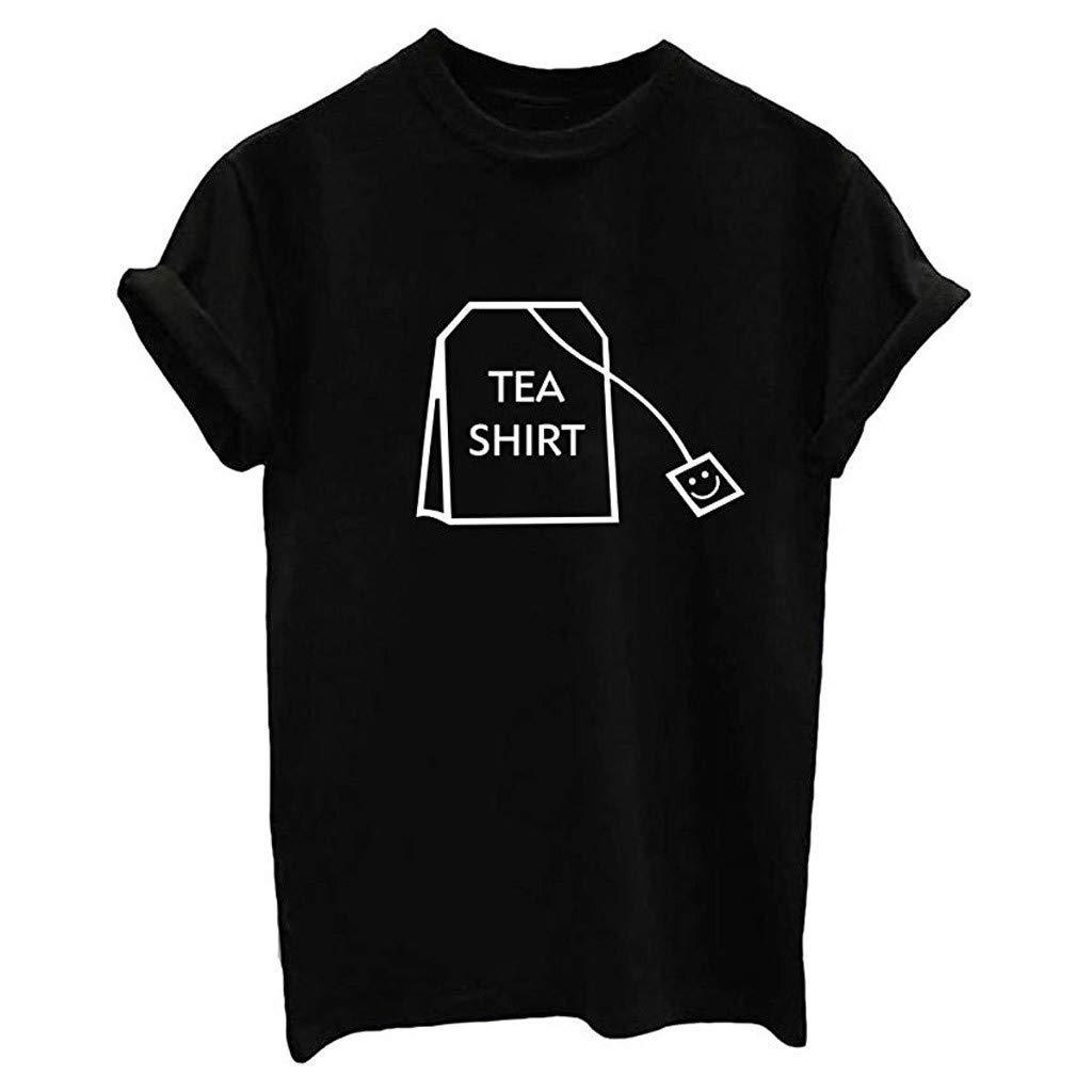 Women Summer Casual T-Shirt,Girl Funny Short Sleeve Cotton Shirts Cute Graphic Tee Top Blouse Black