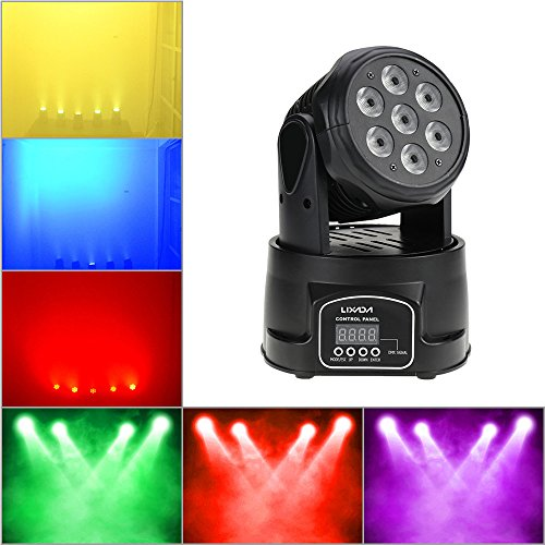 (Lixada DMX-512 Stage Lighting Mini Moving Head Light 4 In 1 RGBW LED PAR Light Lighting Strobe Professional 9/14 Channels 100W AC 100-240V Sound Active for KTV Club Bar Party)