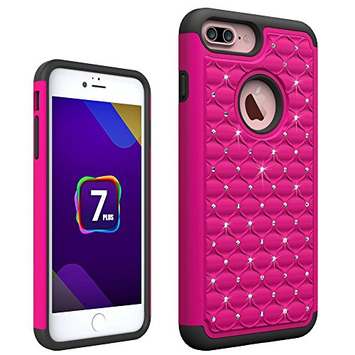 iPhone 7 Plus Case, GPROVA [Shock Absorption] Bling Rhinestone 2 IN 1 Armor Defender Shockproof Case Protective Cover for Apple iPhone 7 Plus (Rose Red+Black) ()