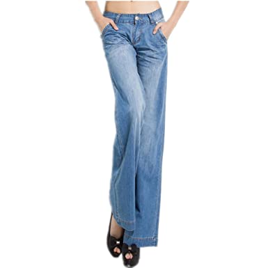 finest selection a070c 9e048 Mr. FF Women's Wide Leg Jeans Palazzo Pants, Washed Blue at ...