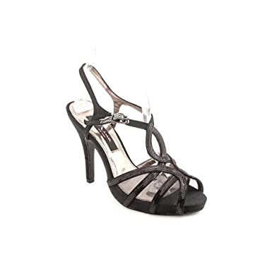Nina Eilene Women Canvas Sandals, Black, Size 7.5