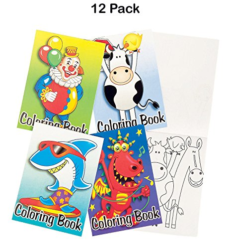 Mini Coloring Books For Kids - Pack Of 12 - 6 Pages Each 5 X 7 Inches - Assorted Coloring Books Features Animals And More - For Kids, Great Party Favors, Bag Stuffers, Fun, Gift, Prize - By Kidsco