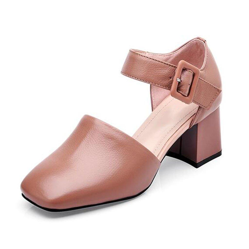 MUMA Pumps Baotou Middle Heel Sandalen weiblich 2018 Frühling und Sommer neue schwarze Kamel hohl weibliche Schuhe europäischen Station seichten Mund Schuhe grob mit einzelnen Schuhe ( Farbe   Kamel , größe   EU39 UK6 CN39 )