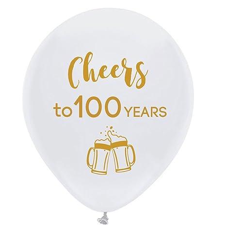 Amazon.com: Globos de látex blancos de 100 años, 11.8 in (16 ...