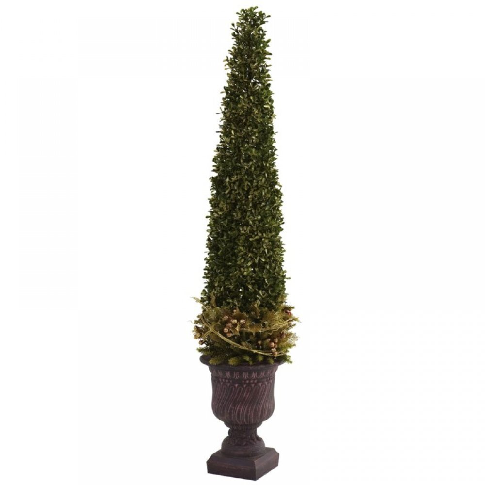 Wholesale Mixed Golden Boxwood and Holly Topiary w/Urn, [Decor, Silk Flowers]