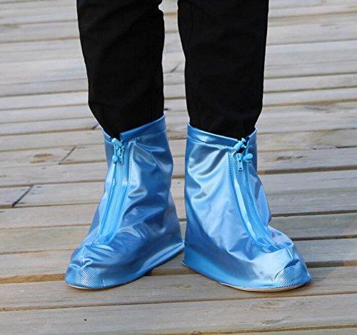 Women Girls PVC Waterproof Rain Shoe Covers Travel Outdoor Slip-resistant Flatties Zippered Overshoe Rainy Shoe Protective Guard Covers blue SCWgq