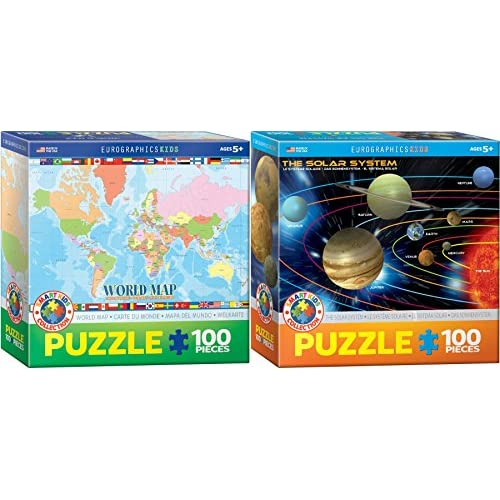 Kids science and geography puzzle set two 100 piece jigsaw puzzles kids science and geography puzzle set two 100 piece jigsaw puzzles world map and gumiabroncs Gallery