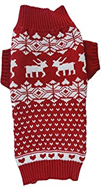 Lanyar Dog Reindeer Holiday Pet Clothes Sweater for Dogs Puppy Kitten Cats, Classic Red by Lanyar