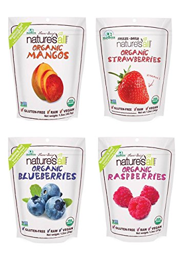 Natierra Nature's All Foods Organic Freeze-Dried 4 Pk Variety: Mango, Raspberry, Blueberry and Strawberry by Nature's All Foods