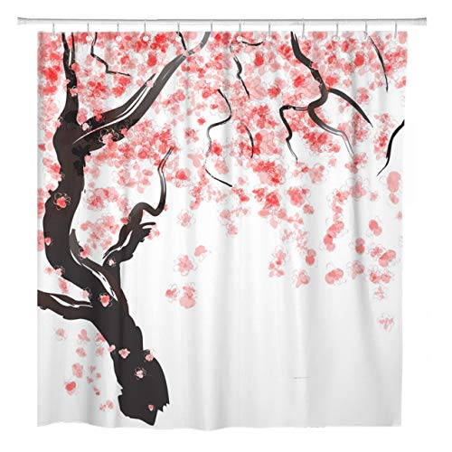 ArtSocket Shower Curtain Pink Peach Japanese Cherry Tree Blossom Watercolor Wedding Flower Home Bathroom Decor Polyester Fabric Waterproof 60 x 72 Inches Set with Hooks