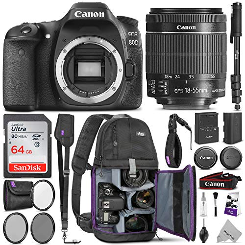 Canon EOS 80D DSLR Camera with EF-S 18-55mm f/3.5-5.6 is STM Lens w/Complete Photo & Travel Bundle – Includes: Altura Photo Backpack, SanDisk 64gb SD Card, Monopod, Filter Kit and Neck Strap