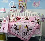 SoHo Melanie the Monkey Baby Crib Nursery Bedding Set 13 pcs included Diaper Bag with Changing Pad & Bottle Case