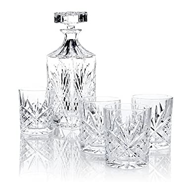 James Scott 5 PC Crystal,Whiskey, Decanter Bar Set. Set includes a Decanter 750ml, and 4 x 8 oz. crystal DOF Glasses.